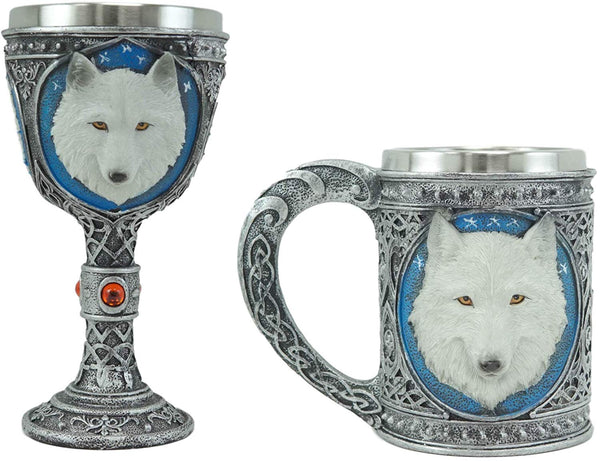Ebros Large Celtic Direwolf White Snow Wolf Coffee Mug & Wine Goblet Chalice Set