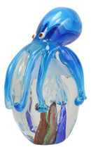 Hand Blown Crystal Glass Glow In The Dark Jellyfish With Blue Octopus Figurine