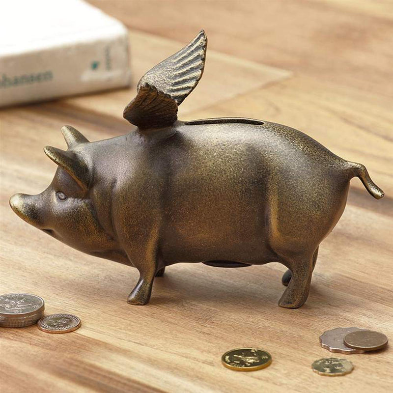 "Ebros Gift 7.25"" Long Rustic Decorative Whimsical Flying Pig Money Coin Piggy Bank Aluminum Sculpture Country Farm Swines Pigs Porky Bacon Themed Savings Banks Collectible Figurine"