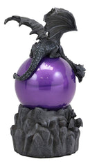 "Ebros Twilight Winged Dragon Resting On Purple Blood Sandstorm Ball Statue Sound Activated 9"" Tall Dungeons and Dragons Medieval Renaissance Mythical Fantasy Sculpture"