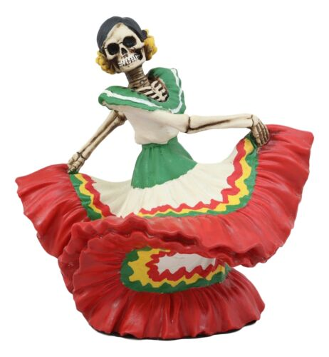 "Ebros Dia De Los Muertos Danza De DAMA Red Sugar Skull Lady Dancer Statue 10"" Tall Day of The Dead Vivas Calacas Figurine"