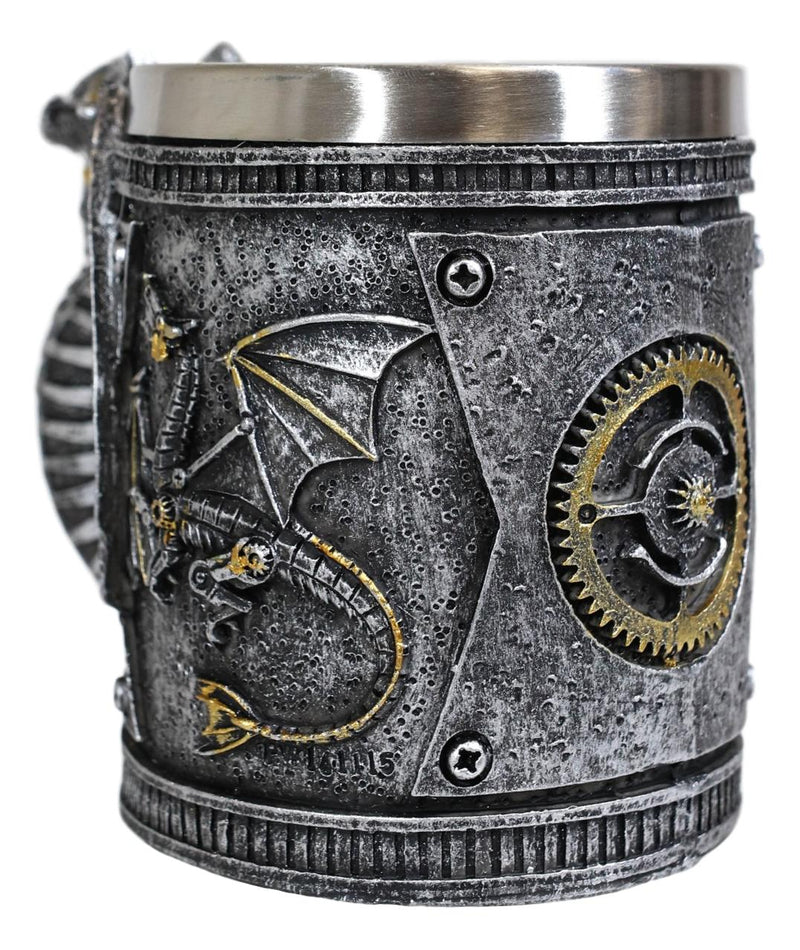Silver Surfer Steampunk Cyborg Robotic Dragon Beer Stein Tankard Coffee Cup Mug