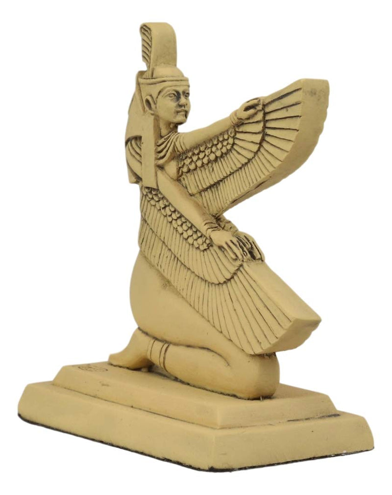 "Ebros Ancient Egyptian Hieroglyphic Kneeling Winged Goddess Maat Mini Figurine 3.25"" High Gods And Goddesses Of Egypt Miniature Hieroglyph Decor Sculpture Collectible"