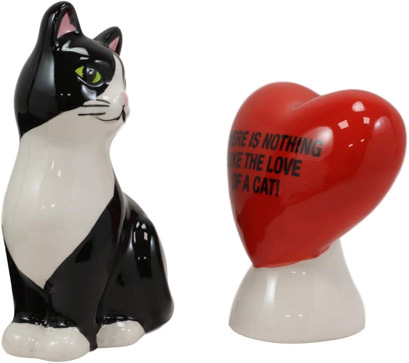 "Ebros Ceramic Cat With A Red Heart Love Salt And Pepper Shakers Magnetic 3.5""H"