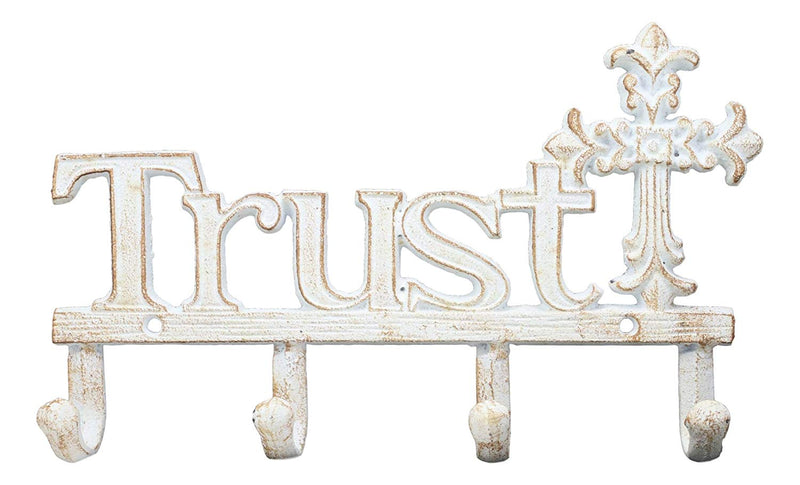"Ebros Cast Iron Rustic White Inspirational Le Fleur Cross with Trust Letters Sign 4 Pegs Wall Hooks Racks 10"" Long Southwestern Rustic Vintage Hanger Wall Mount Coats Hats Keys Hook Decor"
