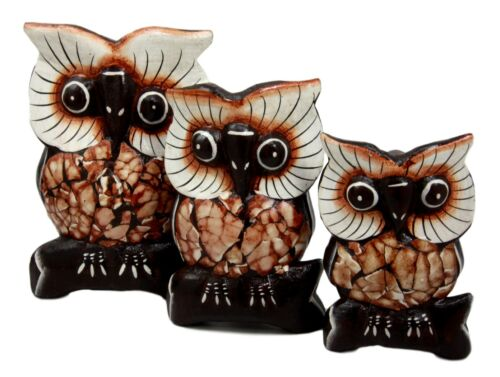 "Balinese Wood Handicrafts Forest Owl Family Set of 3 Decorative Figurines 6""H"