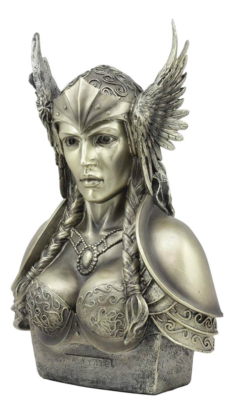 "Ebros Norse Viking Mythology Poetic Edda Goddess Valkyrie Bust Statue 11"" Tall Odin's Iron Maiden Chooser of The Slain Decorative Figurine"