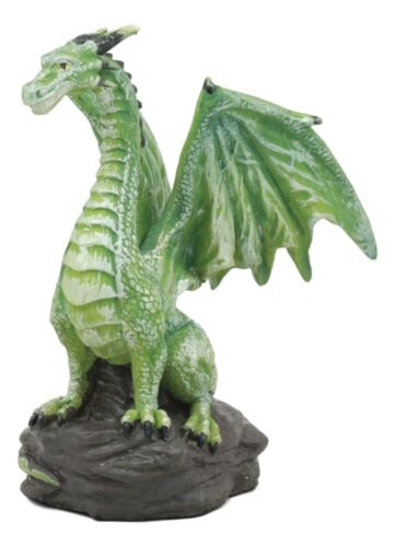 "Small Green Whimsical Dragon On Volcanic Rock Statue 4""Tall Prehistoric Dinosaur"
