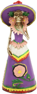 "Ebros Day of The Dead Skeleton Lady Rosa with Purple Gown Figurine 5.25""H Statue"