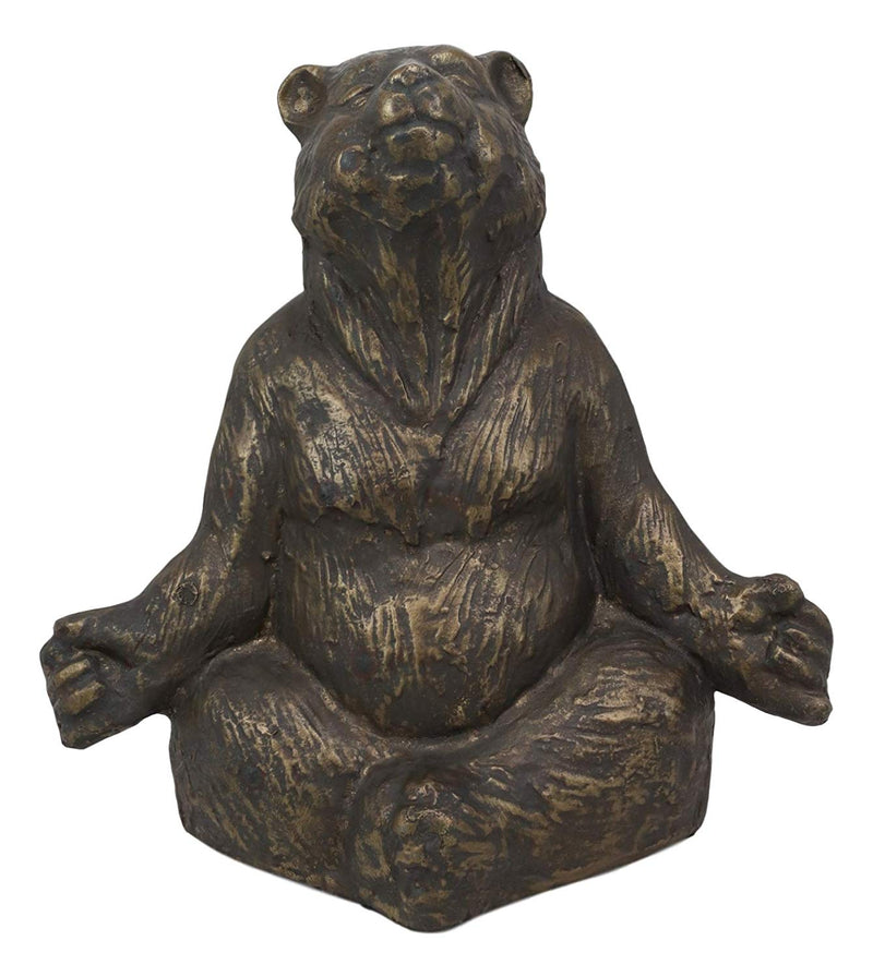 Ebros Aluminum Metal Whimsical Meditating Yoga Bear Garden Statue Rustic Wildlife Western Cabin Lodge Zen Bears Decor Figurine (Set of 3 Poses)