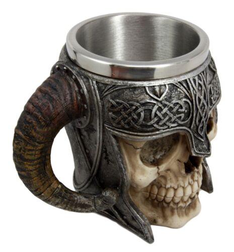 Ebros Viking Ram Horned Warrior Skull With Battle Helmet Tankard Cup Mug 13oz