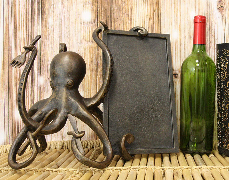 "Ebros Aluminum Nautical Ocean Giant Sea Octopus Chef Holding Cutlery and Menu Board Statue 11.25"" Tall Coastal Beach Kraken Home Kitchen and Dining Countertop Table Decor Sculpture"