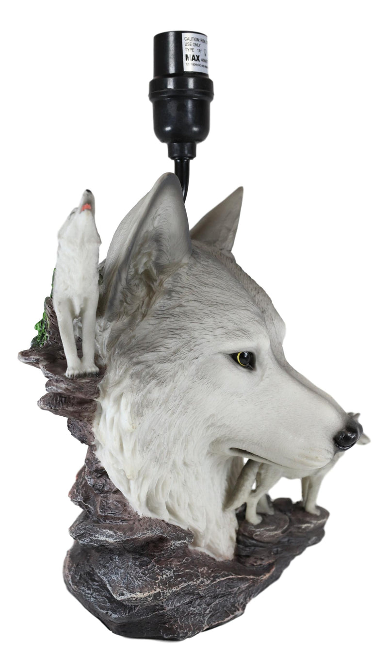 Gray Wolf Table Lamp Decor Wildlife Full Moon Howling Timber Wolf Pack
