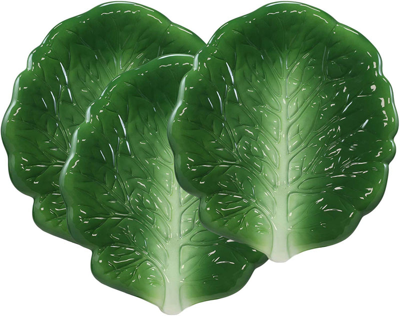 "Ebros 12""L Ceramic Fresh Hearty Collard Green Leaf Shaped Serving Plate SET OF 3"