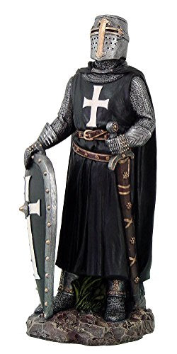 Ebros Crusader Knight in Full Shield and Sword Armor Figurine 11.5 Inch Tall