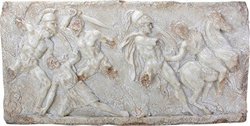 "Ebros Battle between Greeks and Amazones Wall Plaque Large 26.75"" Long Resin Figurine Collectible"