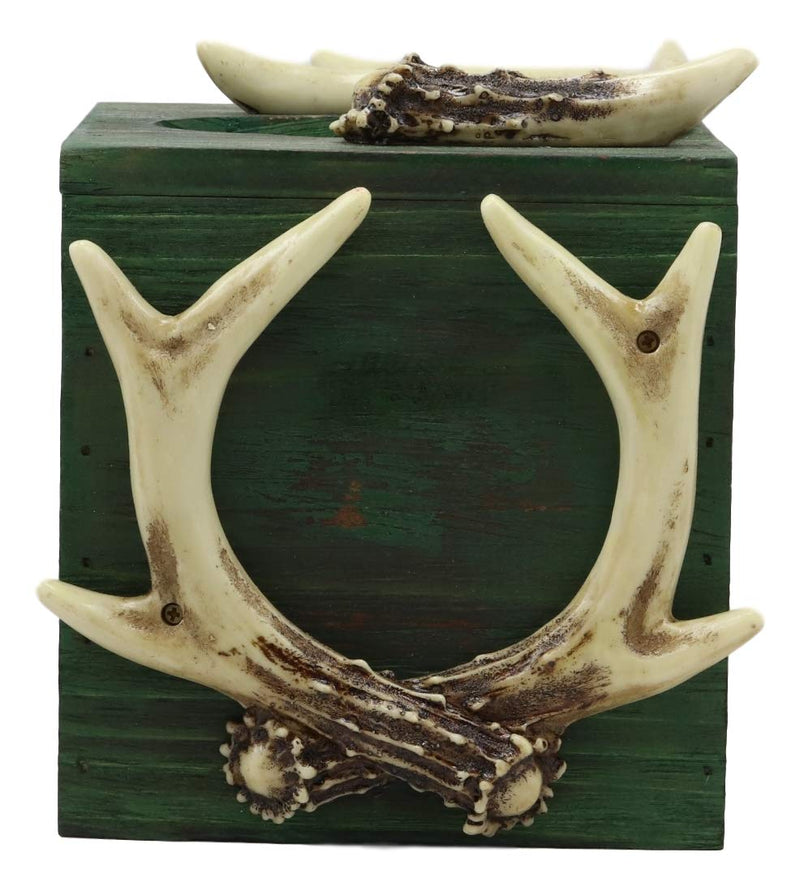"Ebros Wildlife Rustic Buck Elk Deer Stag Crown Trophy Antlers Tissue Box Cover Sculpture 6.25""H Western Rustic Cabin Lodge Country Kitchen Dining Side Table Counter Top"