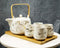 White Faux Marble With Gold Veins Ceramic Tea Pot And Cups With Tray Set For 4