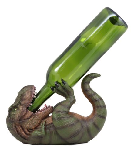 "Ebros Dino Wino Prehistoric Dinosaur Thirsty T-Rex Wine Bottle Holder 9.25"" Long Caddy Figurine Jurassic Era Trex Statue Kitchen and Dining Decor Party Hosting Prop Tyrannosaurus Rex Dinosaurs"