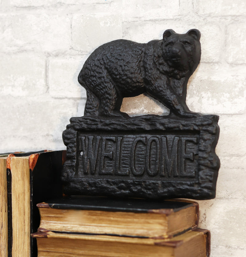 Rustic Western Black Bear On Tree Log Cast Iron Wall Art Welcome Sign Decor