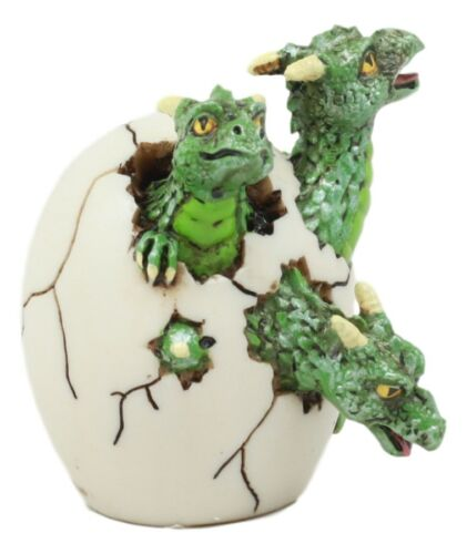 Jurassic Green Hydra Three Headed Dragon Baby Egg Hatchling Figurine Collectible