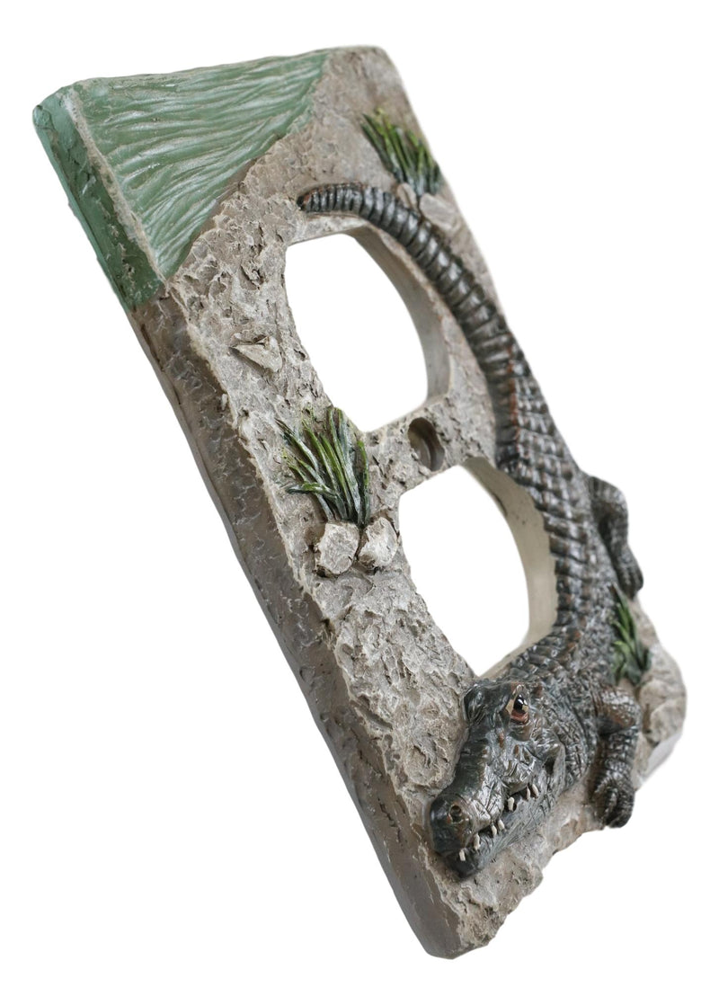 Pack of 2 Wildlife Bayou Swamp Alligator Double Receptacle Wall Outlet Plate