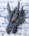 "Large Sculptural Saurian Red Eyed Dragon Wall Decor Plaque 16""H Medieval Fantasy"