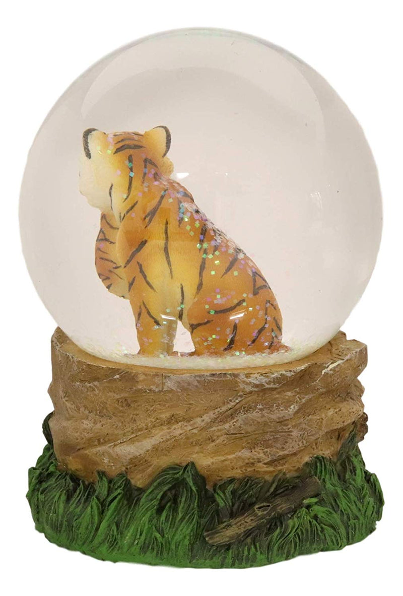 "Ebros Forest Jungle Apex Predator Orange Bengal Tiger Glitter Snow Globe 100mm Collectible Figurine 6.25"" Tall As Wildlife Animal Hunter Tigers Giant Cats Novelty Water Globes Decor"