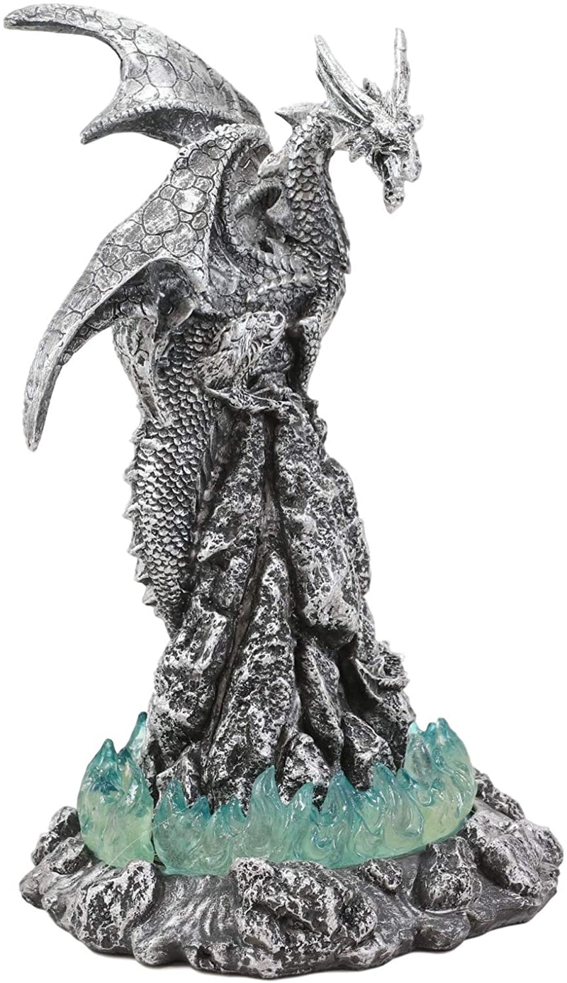 "Ebros 10""H Volcano Blue Magma Dragon On Rock Tower Figurine with LED Night Light"