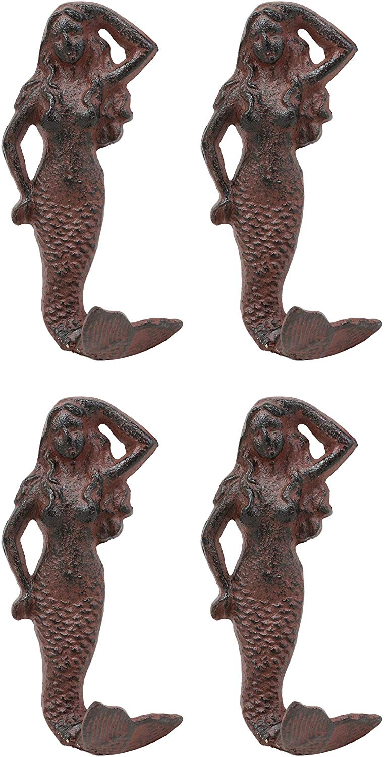 "Ebros Gift 6"" Tall Cast Iron Rustic Vintage Finish Wall Coat Hook Mermaids Decorative Accent Hooks for Keys Leashes Hats (4)"