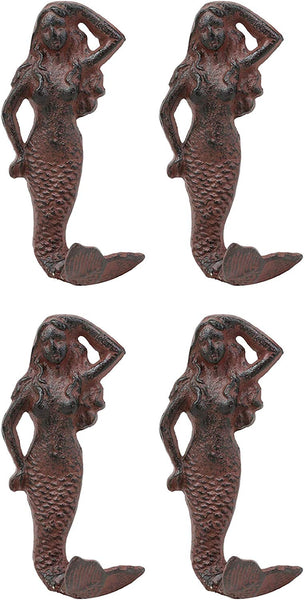 "Ebros Gift 6"" Tall Nautical Siren Mermaid Cast Iron Rustic Vintage Finish Wall Coat Hook Ocean Goddess Princess Coastal Beach Under The Sea Mermaids Decorative Accent Hooks for Keys Leashes Hats (4)"