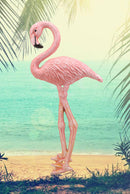 "Ebros Colorful Tropical Rainforest Paradise Pink Flamingo Bird Cast Iron Wall Hanging Decor Figurine 3D Plaque Sculpture Nature Lovers Birds Collectors Decor 13.25"" Tall"