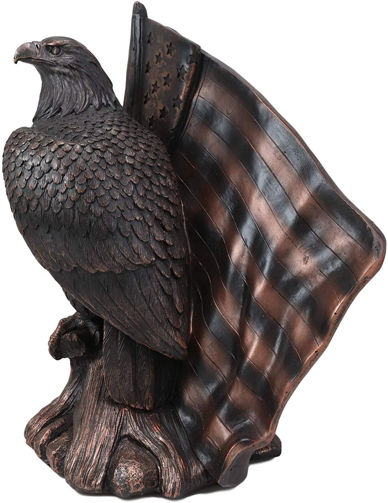 "Ebros 10.5""H Lifelike USA Flag Patriotic Bald Eagle Perching On Tree Sculpture - Ebros Gift"