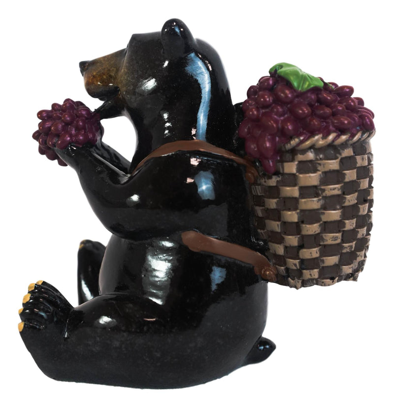 Western Rustic Berry Picking Black Bear With Fruit Harvest Bag Figurine Bears