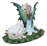 Beautiful Fae Goddess Fairy Princess With Rare Unicorn Friend Statue Magic Decor