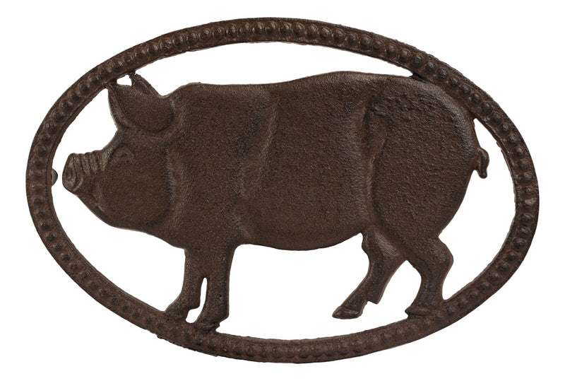 Cast Iron Rustic Swine Bacon Pig Cutout With Raised Studs Border Metal Trivet
