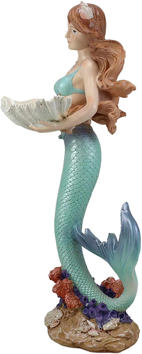 "Ebros 17"" Tall Mermaid with Giant Oyster Shell Dish Votive Candle Holder Statue"