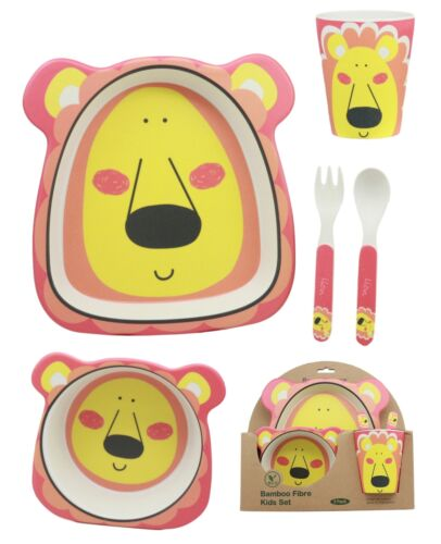 Pink Lion 5 Piece Organic Bamboo Dinnerware Set For Kids Children Toddler Baby