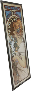Ebros Alphonse Mucha Ethereal Woman With Feather Stained Glass Wall Decor Plaque