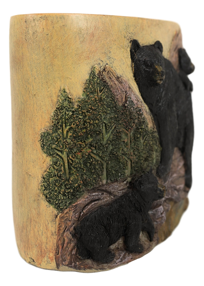 Rustic Mountain Black Mama Bear & Cubs Toothbrush Toothpaste Holder Organizer