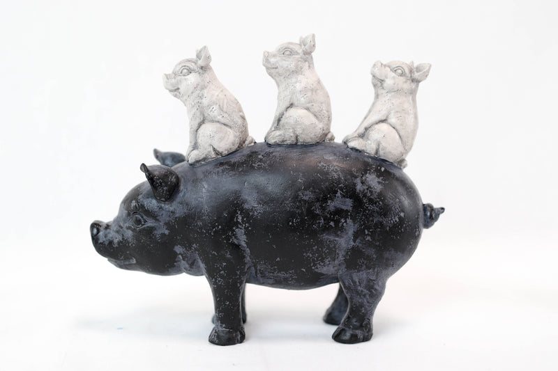 "9.75""L Farm Barnyard Stacked Piglets on Pig Resin Figurine Statue"