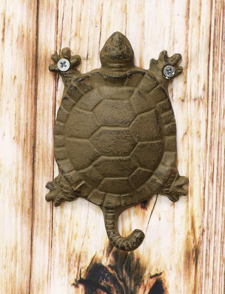 "Ebros Gift 5.75"" Tall Nautical Ocean Sea Turtle Cast Iron Rustic Wall Coat Keys Leashes Hats (1)"