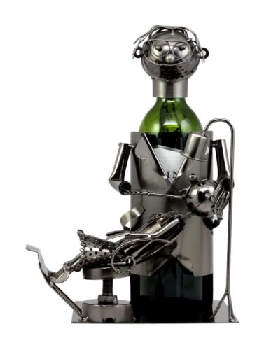 "Ebros Lady Dentist Metal Wine Bottle Holder 12.5""H Hand Made Caddy Doctor Extracting Tooth From Child Sculpture"