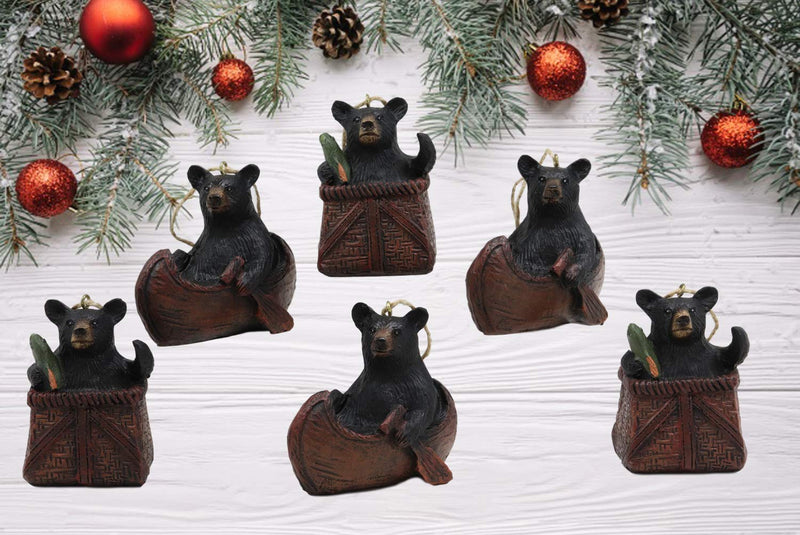 "Ebros Western Rustic Set of 2 Black Bears in Canoe Boat and Fishing Basket Christmas Tree Branch Ornaments Hanging Decor Figurines 3"" Wide Mountain Cabin Lodge 3D Bear Sculptures (Three Pairs)"