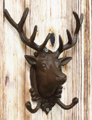 "Ebros Cast Iron Rustic Stag Deer Antlers Wall Double Hooks Decor Plaque 10.5"" H"