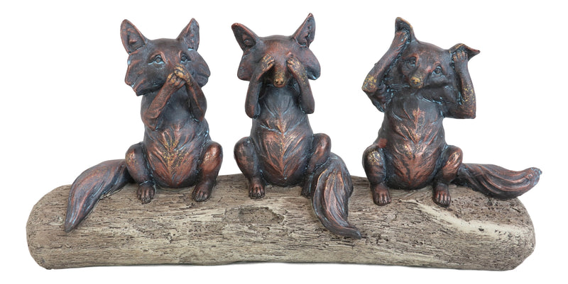 "Rustic See Hear Speak No Evil Sly Foxes Squatting On Driftwood Log Statue 12""L"