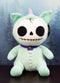 Larger Furry Bones Blue Unicorn Unie Skeleton With Pink Horn Plush Doll Toy