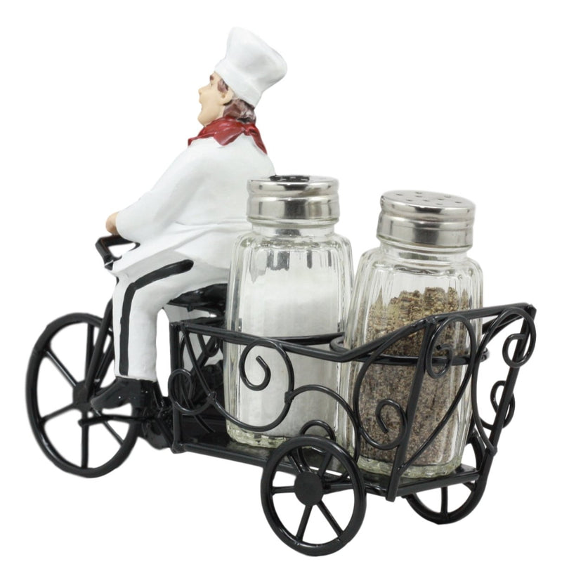 "Ebros French Bistro Chef Riding On Bicycle Spice Cart Salt And Pepper Shakers Holder Figurine 6""Tall Iron Chef Spice Delivery"