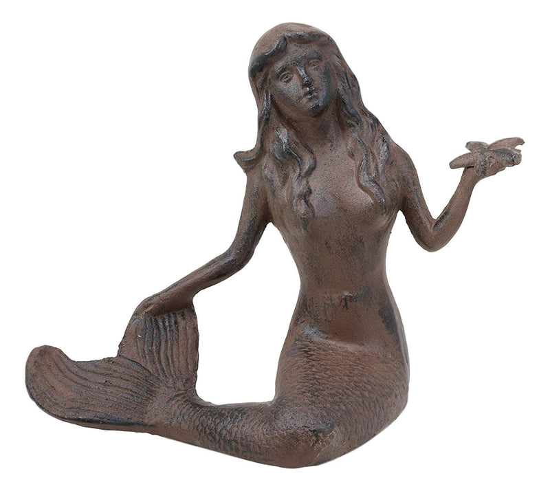"Ebros Gift 11.5"" Tall Cast Iron Large Nautical Siren Mermaid Holding Starfish Vintage Statue Ocean Goddess Princess Coastal Beach Under The Sea Mermaids Decorative Accent (Rust Bronze)"