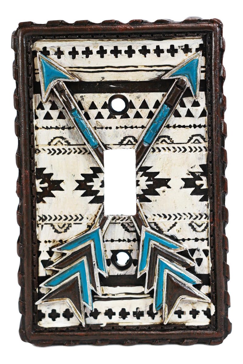 Set Of 2 Western Navajo Crossed Turquoise Arrows Wall Single Toggle Switch Plate